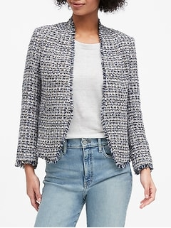 Petite Collarless Metallic Tweed Blazer