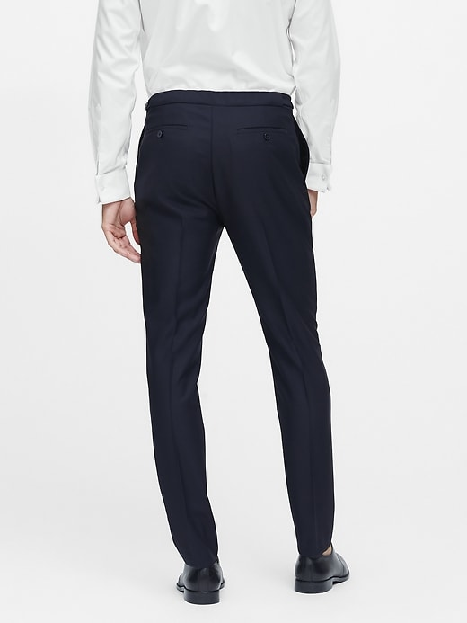 Slim Tapered Navy Italian Wool Tuxedo Pant