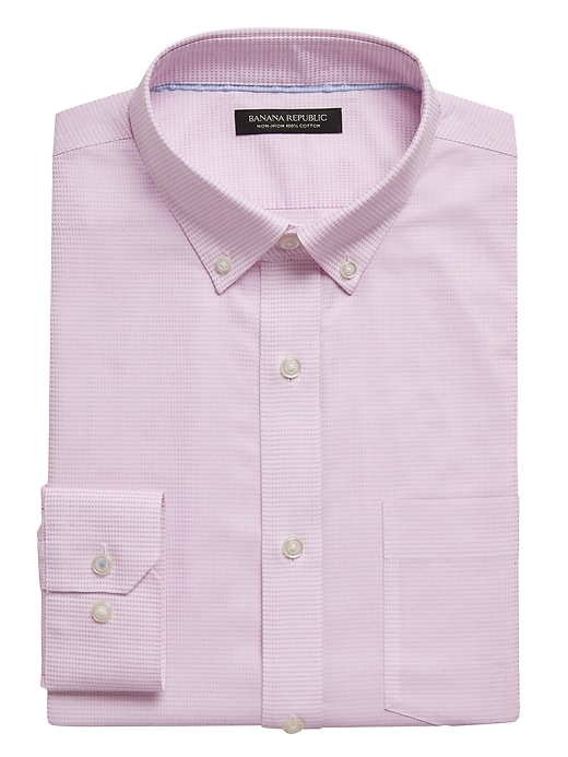 Slim-Fit Non-Iron Dress Shirt with Button-Down Collar