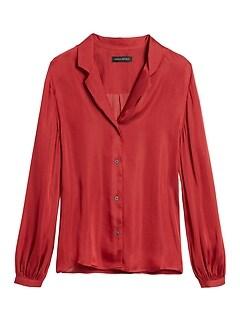 Petite Soft Satin Camp-Collar Blouse