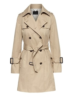 Petite Water-Resistant Classic Trench Coat