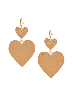 Hammered Double-Heart Earrings