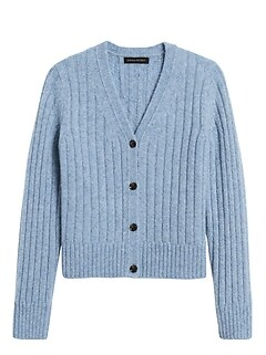 Merino-Blend Cropped Cardigan Sweater