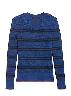Petite Stretch Cotton Crew-Neck Sweater