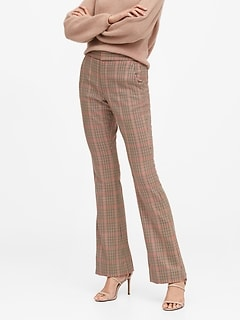 High-Rise Flare Plaid Pant