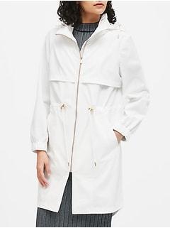 Petite Water-Repellent Long Rain Jacket