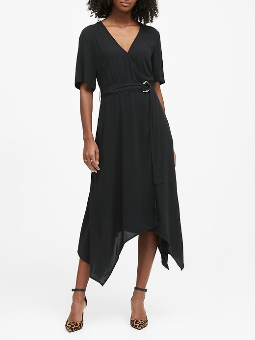 Handkerchief-Hem Wrap Dress