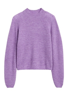 Petite Aire Cropped Puff-Sleeve Sweater