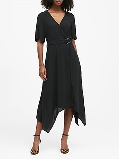 Petite Handkerchief-Hem Wrap Dress