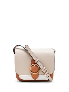 Color-Block Leather Saddle Bag