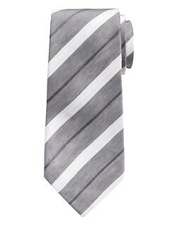 Contrast Stripe Linen-Silk Tie
