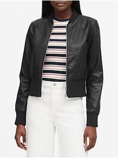 Petite Vegan Leather Cropped Bomber