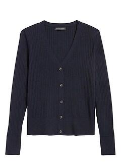 Washable Merino Ribbed Cardigan Sweater
