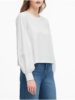 Petite Cropped Balloon-Sleeve T-Shirt