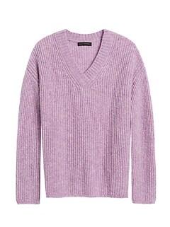Merino-Blend Oversized V-Neck Sweater