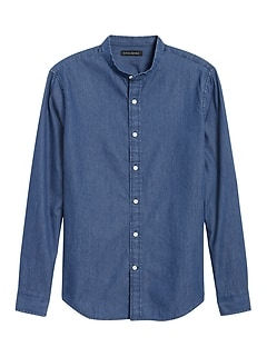 Untucked Slim-Fit Chambray Shirt