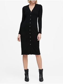 Petite Ribbed Button-Down Dress