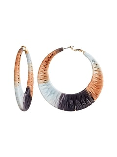Boucles d'oreilles anneaux en raphia