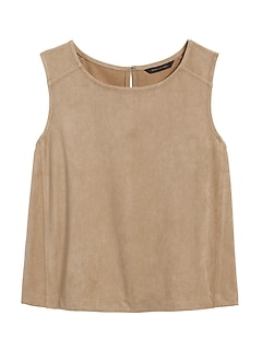 Petite Vegan Suede Cropped Shell