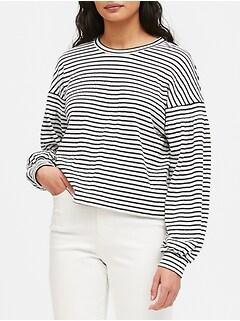 Boxy Crinkle-Knit T-Shirt