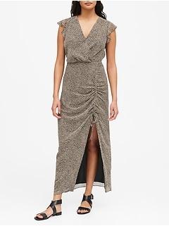 Print Ruched Maxi Dress