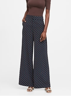 High-Rise Wide-Leg Polka Dot Pant