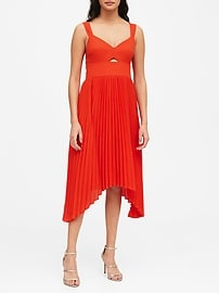 Sweetheart Pleated Midi Dress