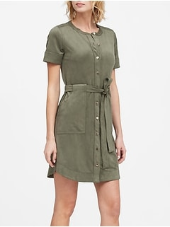 Petite Vegan Suede Shirt Dress