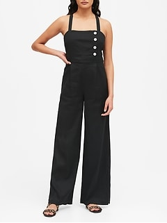 Linen-Cotton Square-Neck Jumpsuit
