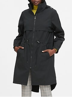 Water-Repellent Long Rain Jacket