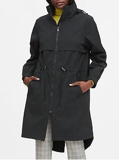 Water-Repellent Long Rain Jacket