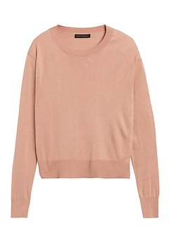 Petite Silk-Cotton Boxy Cropped Sweater