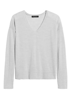 Petite Washable Merino V-Neck Sweater
