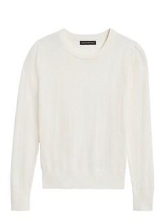 Petite Washable Merino Puff-Sleeve Sweater