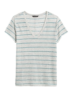 Stripe Linen V-Neck T-Shirt