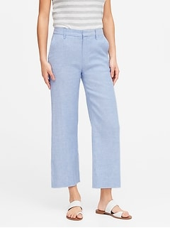 Petite Slim Wide-Leg Linen-Cotton Cropped Pant