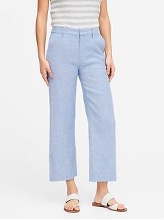 Pantalon court et étroit à jambe large en lin et coton, Petite