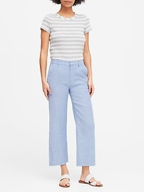 Slim Wide-Leg Linen-Cotton Cropped Pant