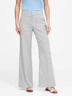 High-Rise Wide-Leg Linen-Cotton Pant