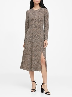 Print Fit-and-Flare Dress