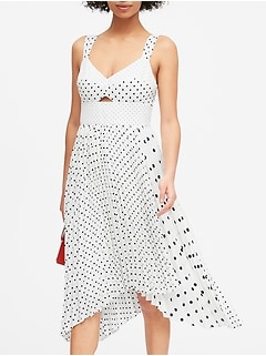 Print Sweetheart Pleated Midi Dress