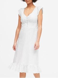 Linen-Cotton Button-Front Midi Dress