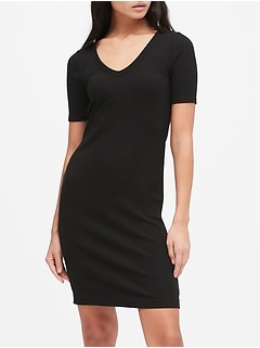 Petite Ribbed V-Neck T-Shirt Dress