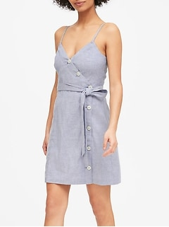 Linen-Cotton Button-Front Mini Dress