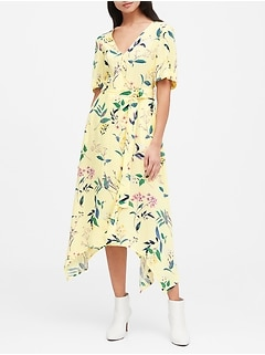 Petite Print Handkerchief-Hem Wrap Dress