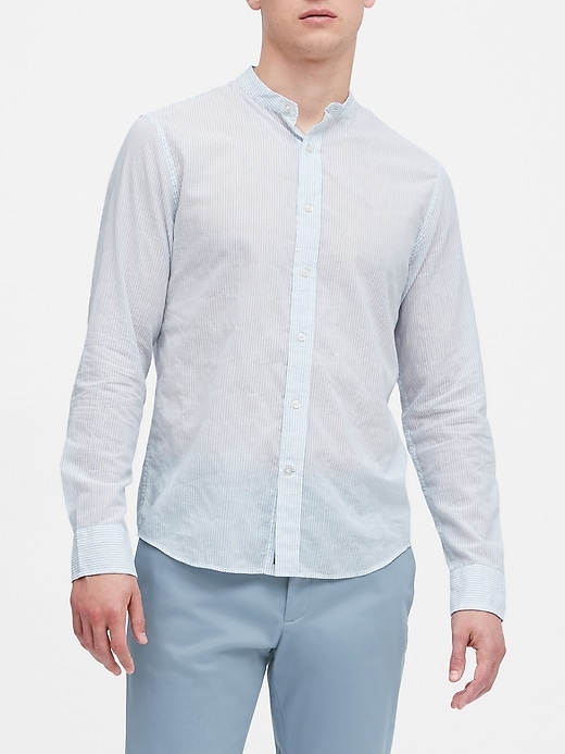 Untucked Slim-Fit Crinkle Cotton Shirt