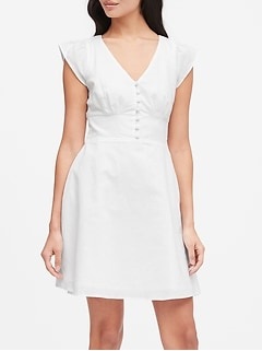 Petite Linen-Cotton Button-Front Mini Dress