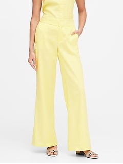 Petite High-Rise Wide-Leg Linen-Cotton Pant