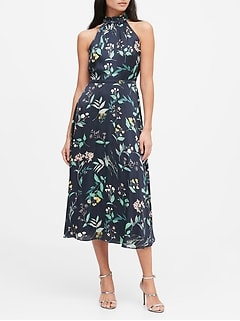 Floral Soft Satin Midi Dress
