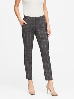 Petite Avery Straight-Fit Plaid Ankle Pant